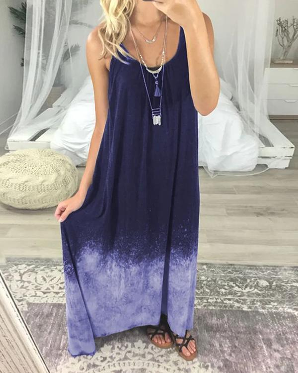 Women Casual Tie Dye Maxi Dress