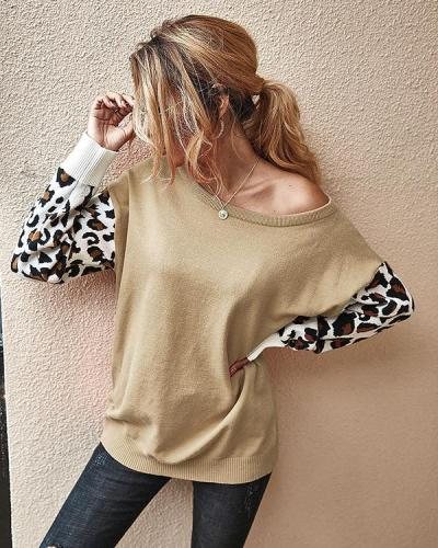 Leopard Acrylic Crew Neck Long Sleeve Sweater