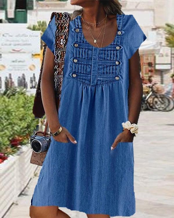Women Casual Vintage Solid Color Dress