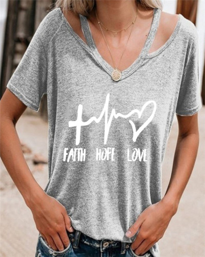 Letter Printed Women Summer Casual Tops