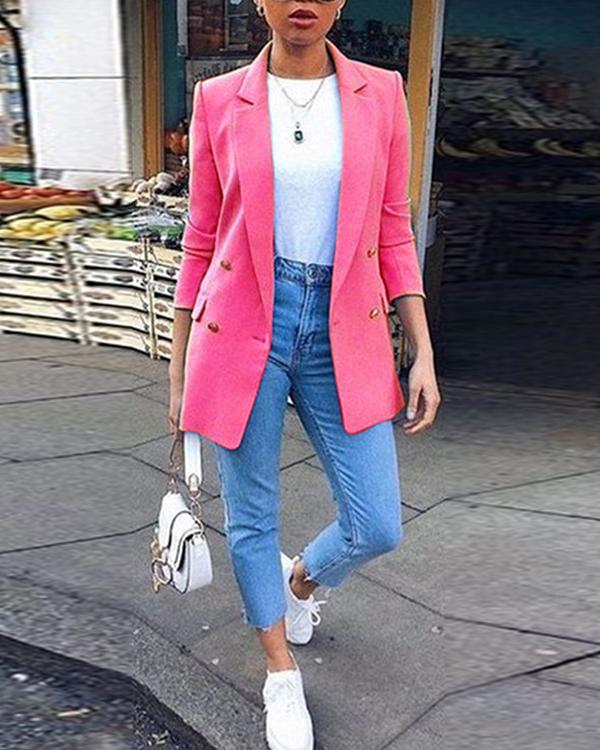 Women Plain Long Sleeve Button Blazer