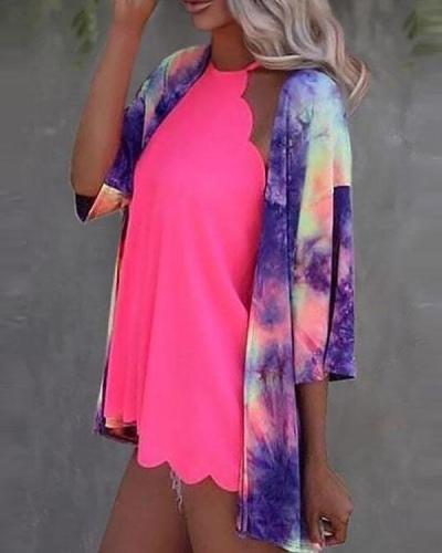 Women Tie Dye Casual Top Fall Summer Outerwear