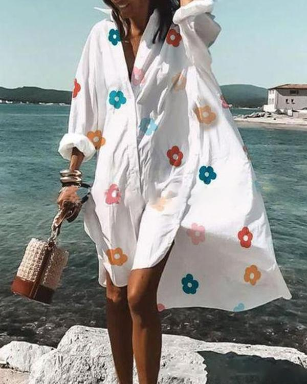 Casual Floral Tunic V-Neckline Shift Dress