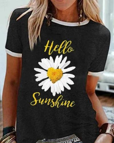 Loose Daisy Print Round Neck Short Sleeve T-shirt