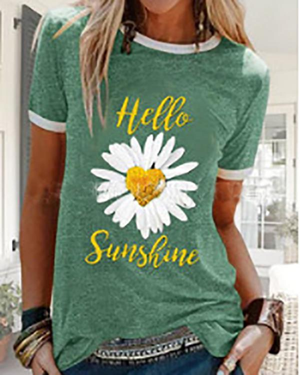 Loose Daisy Print Round Neck Short Sleeve T-shirt