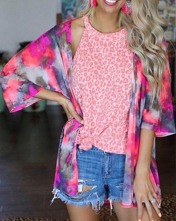 Women Tie Dye Casual Top Fall Summer Outerwear