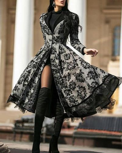 Casual V-neck Printed Women's Coat