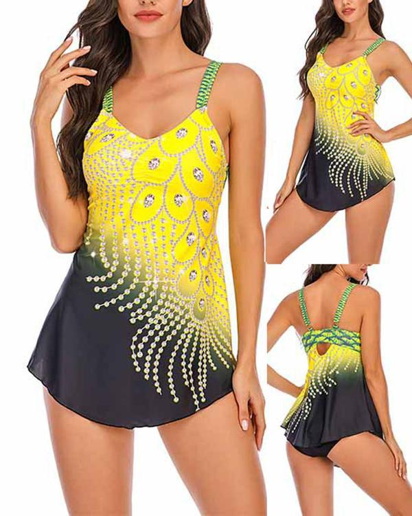 Feather Print Split Plus Size Tankini Swimsuit