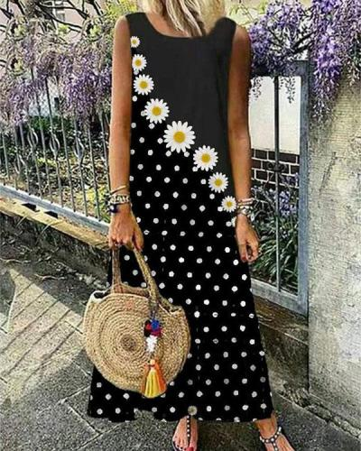 Little Daisy Stitching Polka Dot Print Vest Dress