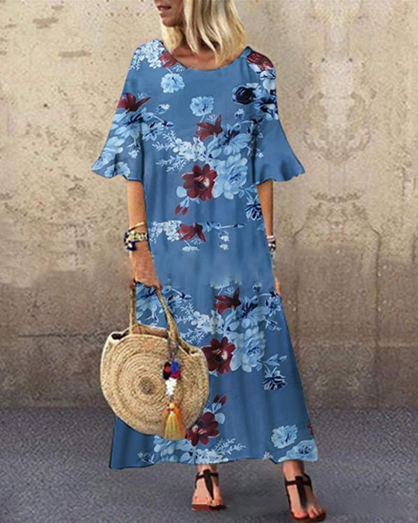 Flower Print Loose Casual O-neck Dress