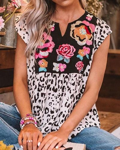 Wild Flower Embroidered Shift Tops