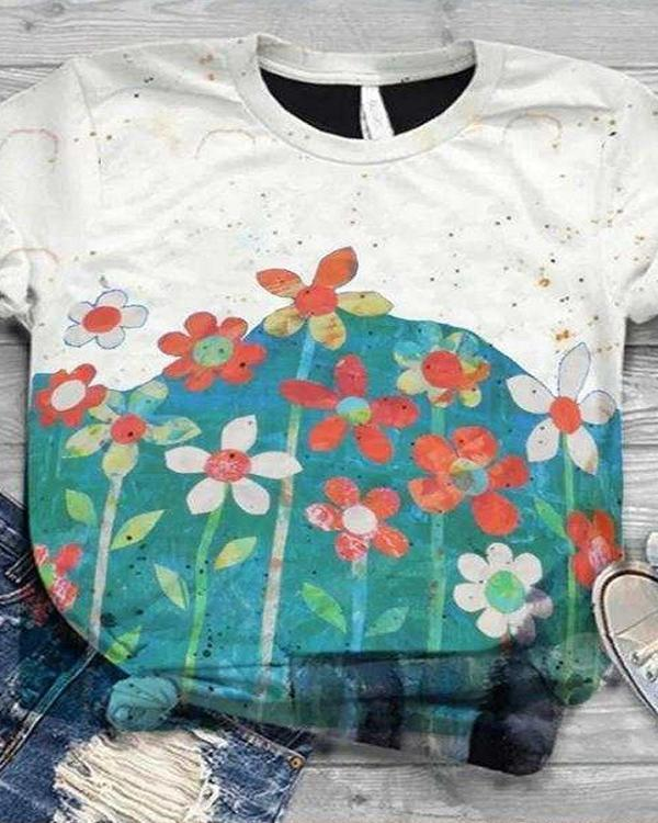Vintage Graphic Print Paneled Short Sleeves T-shirt