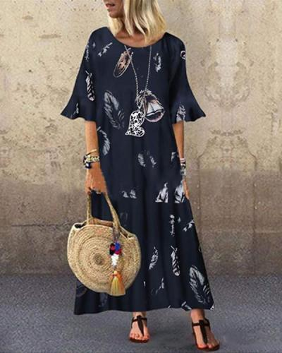 Loose Retro Feather Print Round Neck Short Sleeve Long Dress