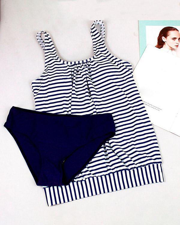 Striped Print Loose Tankini
