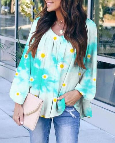 Women Flower Long Sleeve Tops