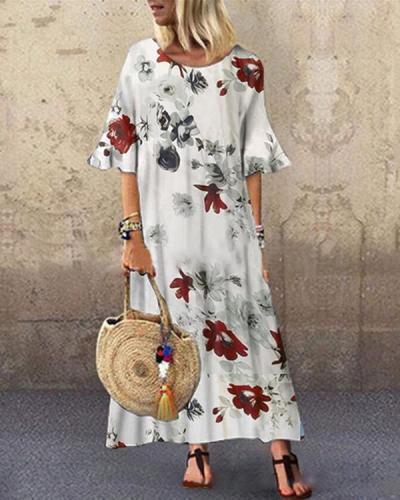Flower Print Loose Casual O-neck Dress