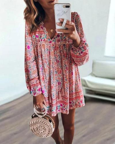 Bohemian Long-sleeved Vacation Dress