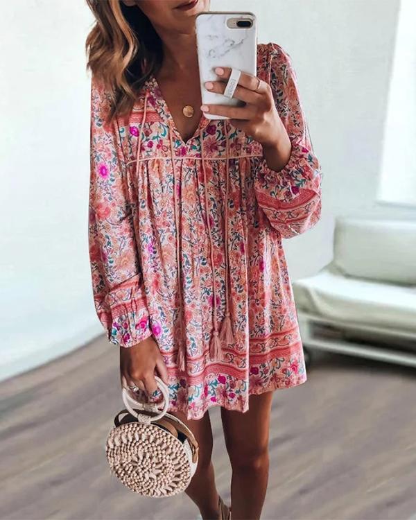 Bohemian Long-sleeved Vacation Dress