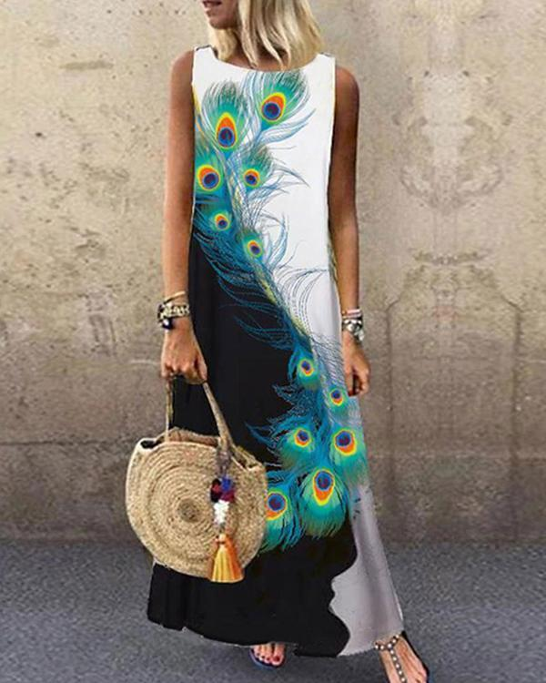 Peacock Feather A-Line Holiday Maxi Dresses