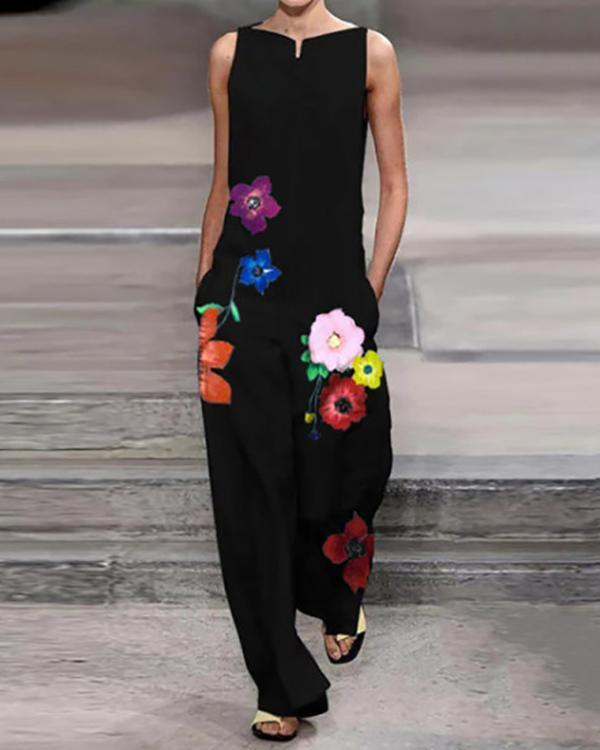 Stylish Boat Neck Floral Print Sleeveless Jumpsuit