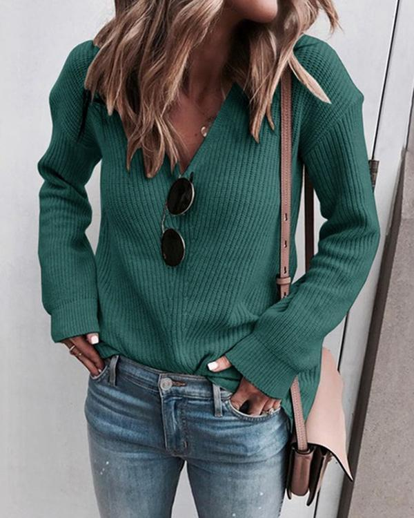 V-neck Solid Long Sleeve Sweater