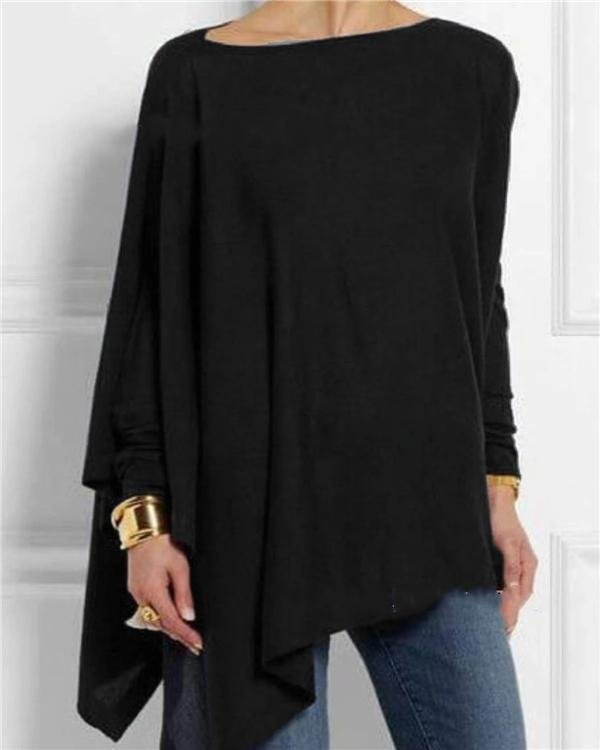 Solid Long Sleeve Crew Neck Casual Irregular Blouses Tops
