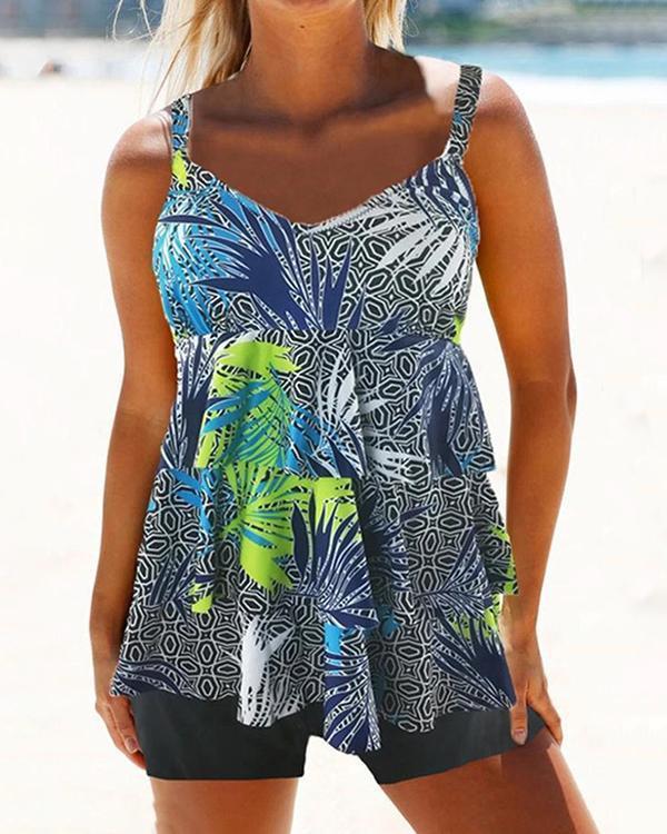 Leaf Print Feminine Layered Tankini Swimsuit