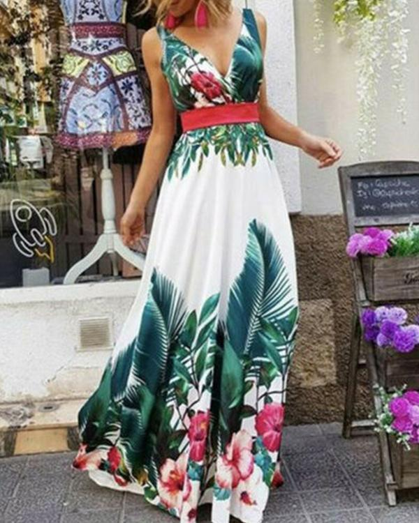 Fashion Sleeveless Floral Print Maxi Dress