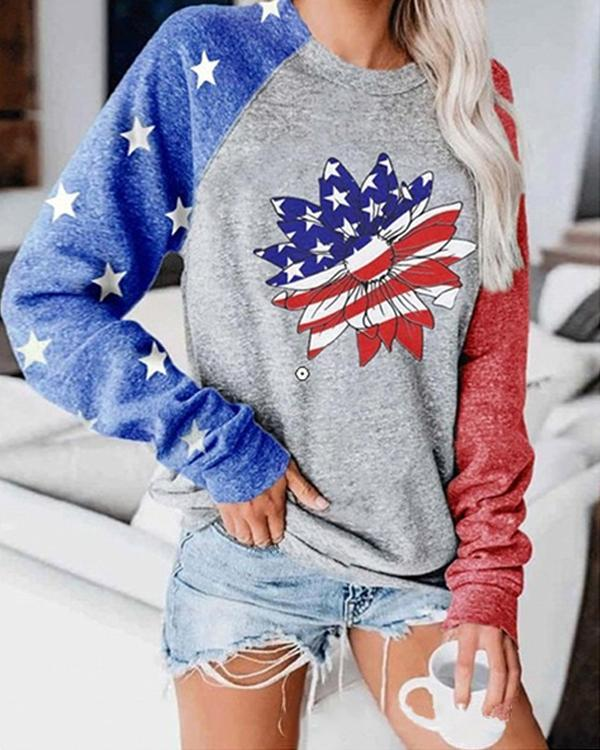 America Flag Printed Casual Round Neck Sweatshirt