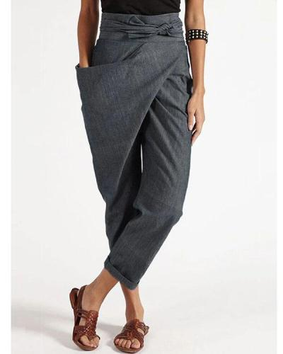 Casual Wrap Pocket Irregular Plus Size Harem Pants With Belt