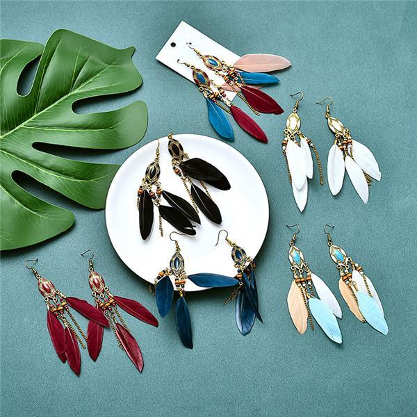 Colorful Fashion Feather Earrings