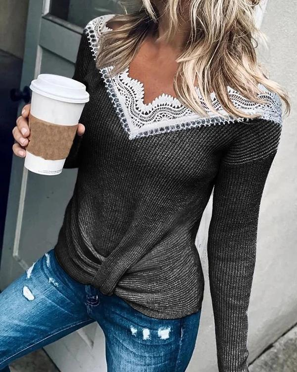 Women V-neck Solid Lace Panel Long Sleeve T-shirt