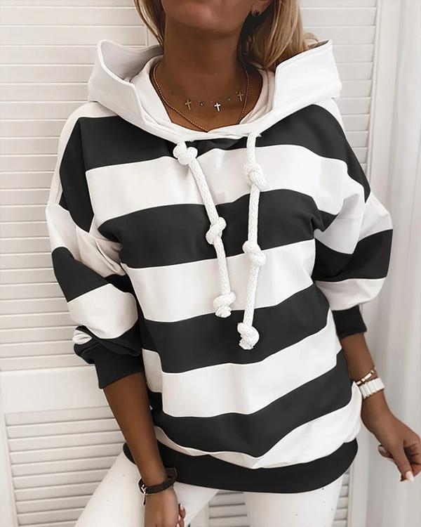 Hat collar Long Sleeve Stripe Casual Hoodie