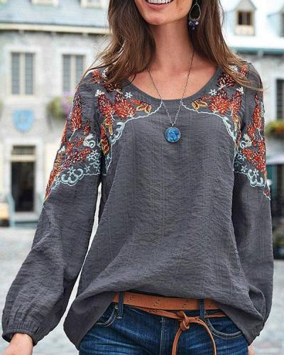 Vintage Embroidery Floral Long Sleeve Casual Blouse