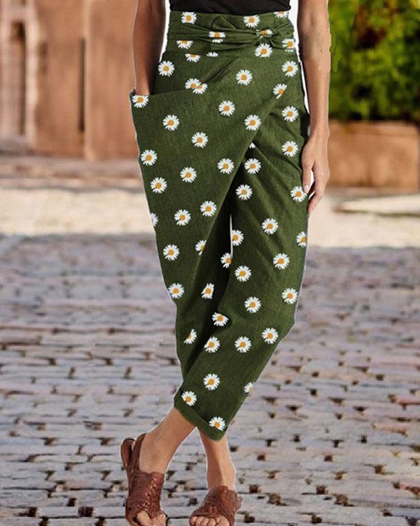 Daisy Print Casual Wrap Pocket Irregular Harem Pants With Belt