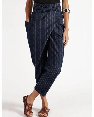 Casual Wrap Pocket Irregular Harem Pants With Belt