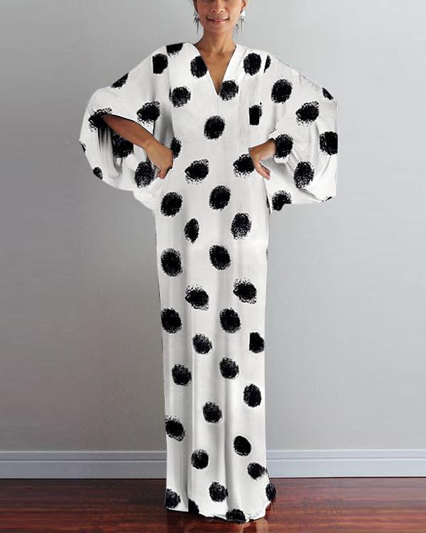 Fashion V Neck Printed Colour Long Sleeve Maxi Dresses