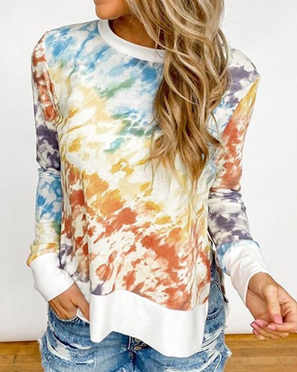 Plus Size Tie Dye Casual Round Neck Daily Shirt Sweatshirt