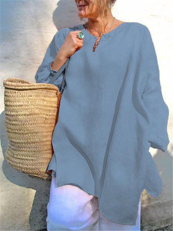 Casual Long Sleeve Linen Plus Size V-Neck Blouses