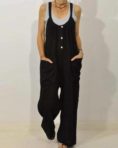 Solid Color Loose Straps Button Jumpsuit With Pocket