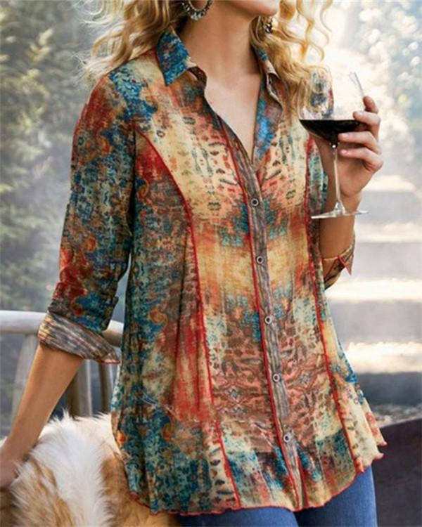 Gradient Print Buttons Down Vintage Long Sleeves Blouse