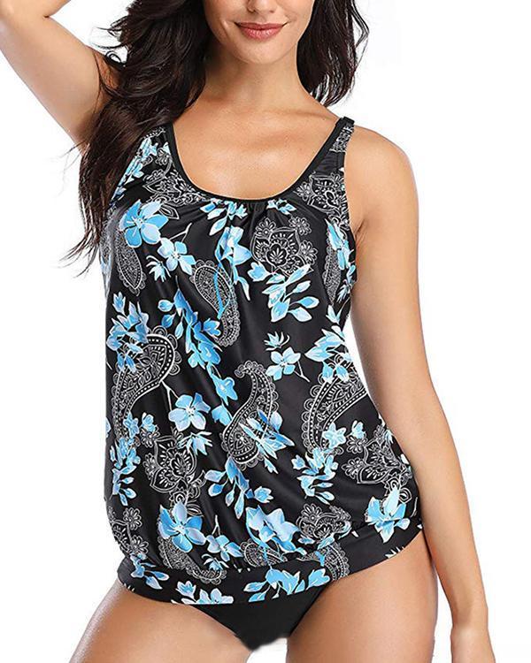 Print Casual Tankini Swimsuit