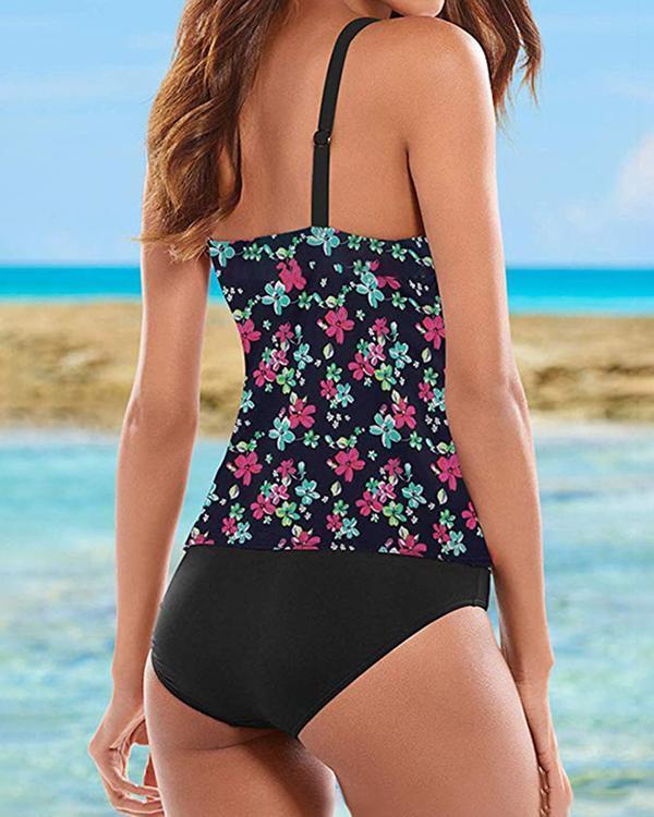Floral Print Strap Bohemian Tankinis Swimsuits