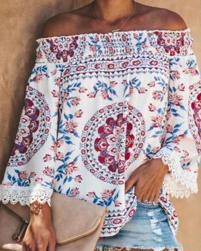 Boho Printed Casual Off Shoulder Shirts & Tops
