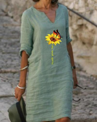 Plus Size Casual Flower Print Half Sleeves Dresses