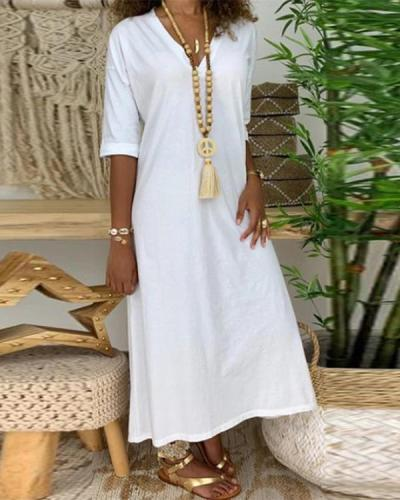 Casual Solid Paneled V-neck Half Sleeves Maxi Dress