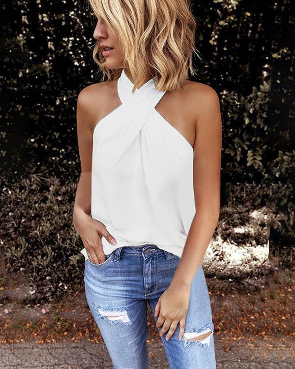 Women Fashion Halter Solid Color Off Shoulder Sleeveless Blouse