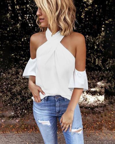 Women Fashion Halter Solid Color Off Shoulder Plus Size Blouse