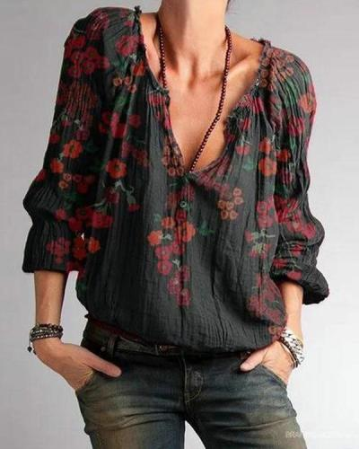 Plus Size Black Floral Cotton-Blend V Neck Casual Shirts & Tops