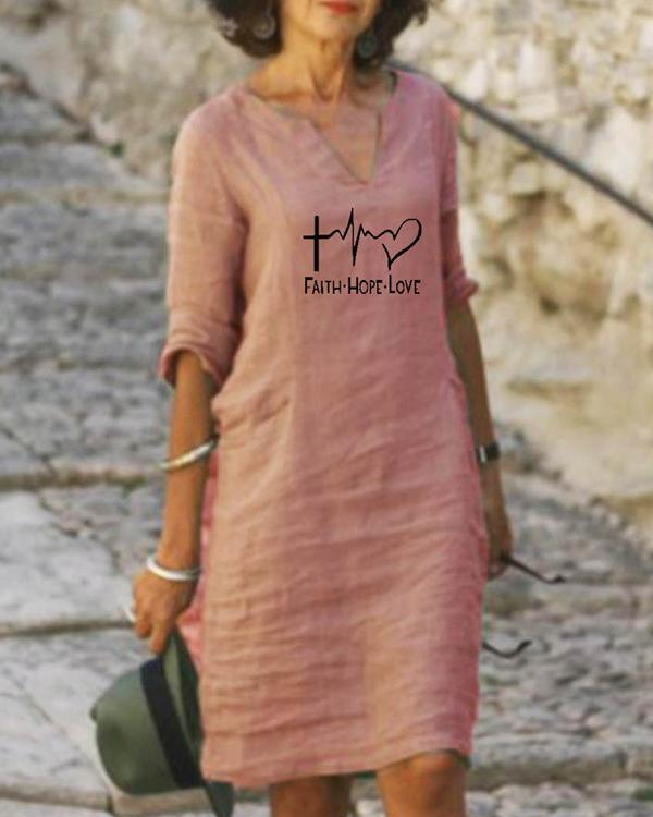 Casual Letter Print Half Sleeves Dresses